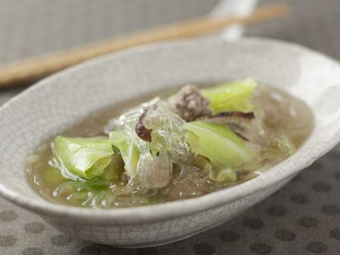 キャベツの春雨スープ