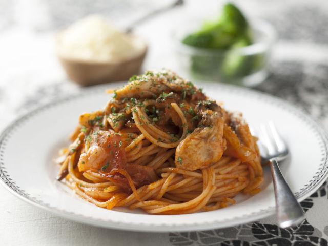 牡蠣のスパゲティナポリタン