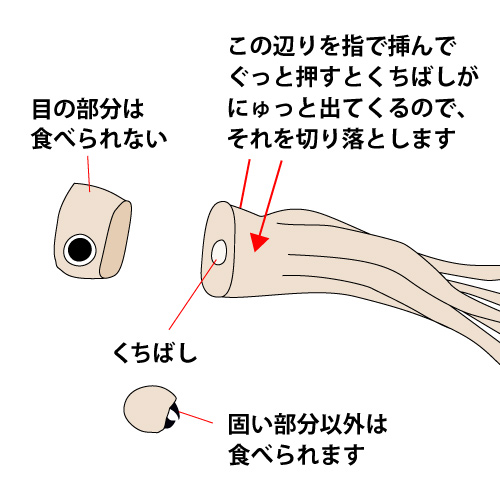 目の下に包丁を入れて切り落とし、あしの付け根にあるくちばしを指で押し出して切り落とします。目の部分は食べられません。
