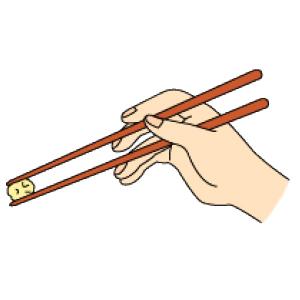 箸の先を揃え真ん中より上のところを持ち、下の箸は親指のつけ根と薬指の先で支え、上の箸は人差し指と中指の先ではさみそこに親指の先をそえます。