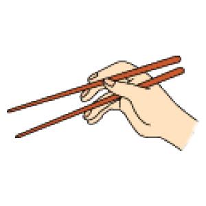 中指をゆっくり押し上げて、上の箸と下の箸の先の間を開けます。