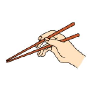 人差し指をゆっくり押し下げて、上の箸を下げます。