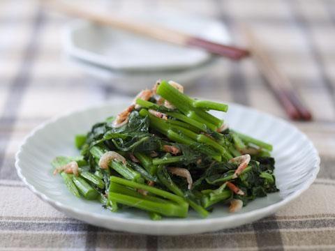 かき菜と桜えびの炒めもの